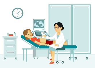 Medicine concept ultrasound scan and diagnostics in flat style. Young doctor woman scanning pregnant with ultrasound scanner machine in hospital office. Consultation and medical diagnosis.