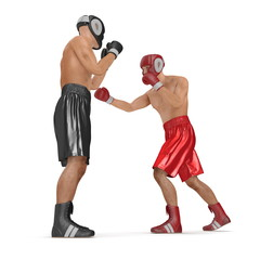 Two men boxer wearing helmet and gloves boxing on white. 3D illustration