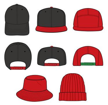 Hat Beanie  CAP design fashion flat technical drawing template