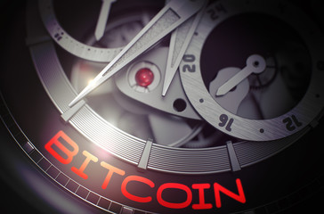 Bitcoin on Luxury Pocket Watch Mechanism. 3D.