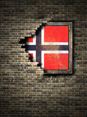 Old Norway flag in brick wall