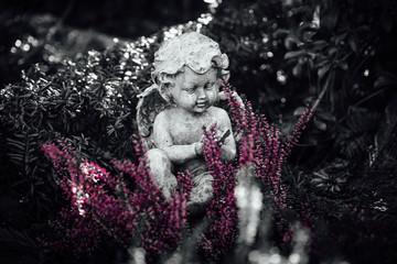 Betender Engel schwarz-weiß auf Grab mit lila Knospenheide