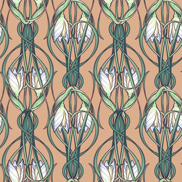 Spring flowers. Snowdrop flowers interlaced into an intricate ornament on a beige background. Art Nouveau style drawing. Seamless pattern with a vertical rhythm. EPS10 vector