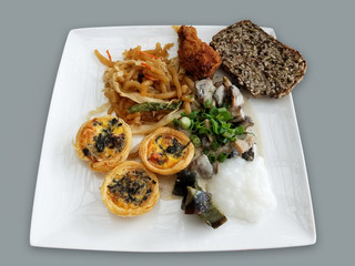 Assorted Asian food breakfast plate