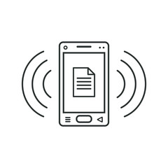 Mobile phone icon with document sign