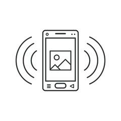 Mobile phone icon with a sign of a picture