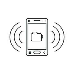 Mobile phone icon with folder sign