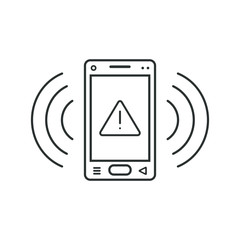 Mobile phone icon with warning sign
