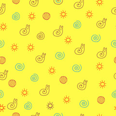 Children drawing of snail seamless pattern. Doodle kids drawn colorful art background with sun, spiral, circle and animal. Vector illustration
