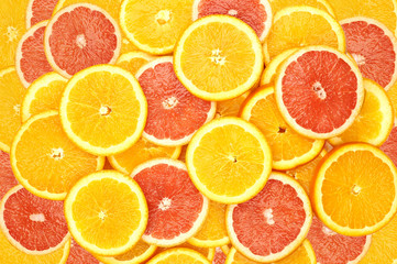 Wall Murals Slices of fruit slices of oranges and slices of grapefruit