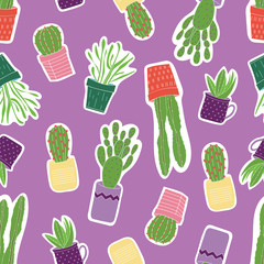 Seamless vector pattern with colorful green succulents in purple, yellow, orange, pink pots with a purple background.