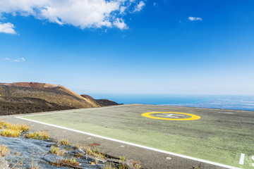 Landing strip for helicopters in the Mount Etna, Sicily, Italy