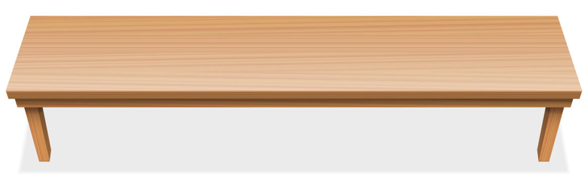 Very long table, extra long tabletop with wooden texture. Perspective view from above. Horizontal isolated vector illustration over white background.