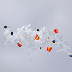 Milk splash with berries and droplets isolated. 3D illustration
