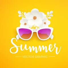 Hello Summer vector graphic concept. White women's Sunglasses and flowers isolated on yellow background, festive summer banner.
