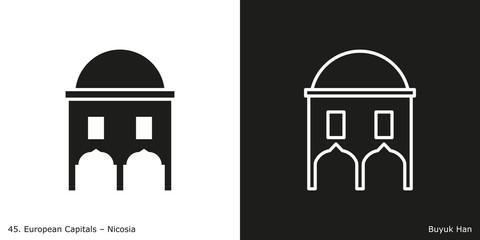 Buyuk Han Icon. Landmark building of Nicosia, the capital city of Cyprus