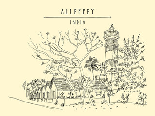 Lighthouse in Alleppey (Alappuzha). Historic warehouse buildings. Kerala, India. Vintage travel landscape drawing