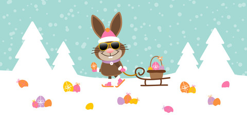 Bunny Sunglasses Sleigh Meadow Easter Eggs Snow Retro