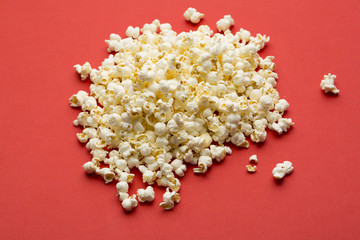 popcorn on red textured