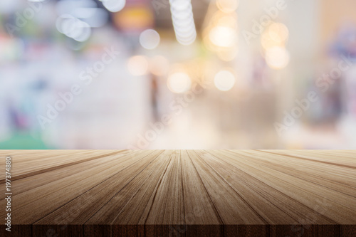 Wood Plank Table Top With Clean Blur Background For You Product Advertising