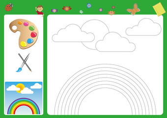 follow the lines with your pencil and paint, pencil control, Working pages for children, worksheet for kids, fine motor activity