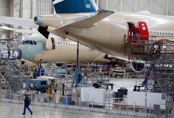 Airbus A350 X UltraLong Range are pictured on their final assembly line at Airbus headquarters in Blagnac, near Toulouse