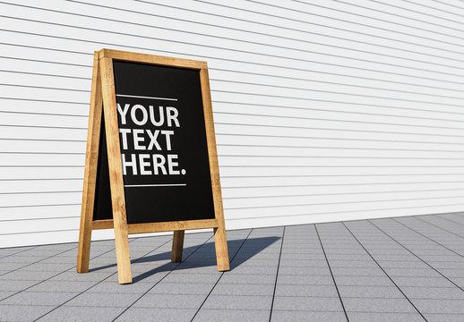 Wooden Easel Blackboard Menu Mockup on City Street