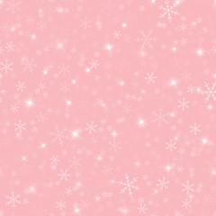 White snowflakes seamless pattern on pink Christmas background. Chaotic scattered white snowflakes. Terrific Christmas creative pattern. Vector illustration.