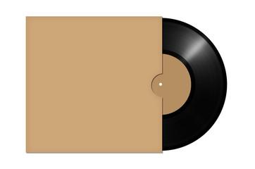 vinyl record with envelope isolated on white background. illustration