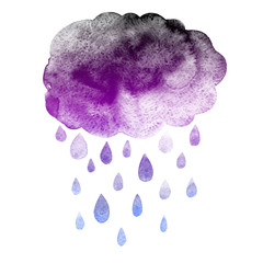 Heavy rain cloud precipitation with rain drops. Hand drawn watercolor illustration.