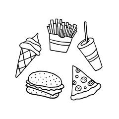 Linear cartoon hand drawn fast food set. Cute vector black and white fast food set. Isolated monochrome doodle fast food set on white background.