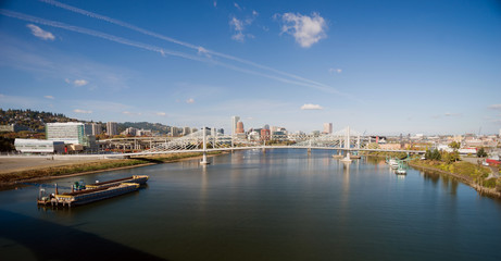 Panoramic View Portland Bridge Willamette River Barges