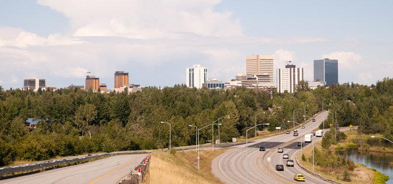 Highway Leads to Anchorage Alaska USA North America