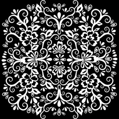Abstract floral pattern, vector wicker ornament. White ornate tracery in eastern style with a lot of curls, tattoo sketch, arabesque, print for fabric, oriental design, isolated on black background