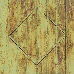 Rusty metal gate with rhombus decoration. Background and texture for design.