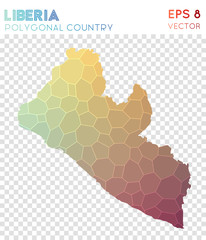 Liberia polygonal map, mosaic style country. Posh low poly style, modern design. Liberia polygonal map for infographics or presentation.