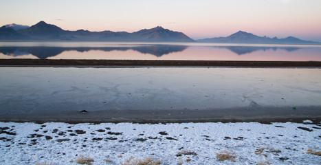 Bonneville Salt Flats Graham Peak Sunset Mountain Range Snow Mirage
