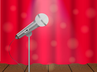 Vector illustration of a concept of karaoke, concert or festival. Microphone on stage and closed curtain.