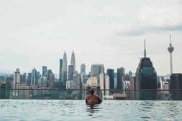 Man swimming at downtown