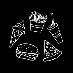 Linear cartoon hand drawn fast food collection. Cute vector black and white fast food collection. Isolated monochrome doodle fast food collection on black background.