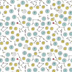 Seamless pattern with cosmos doodle illustrations.