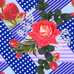 Seamless floral patchwork pattern. Flowers and geometric shapes. Flower background for textile, cover, wallpaper, gift packaging, printing.Romantic design for calico, silk.