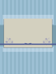 blue striped paper scrub with bow of satin ribbon and semi-transparent layer postcard
