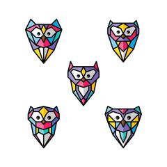 owl logo logotype colorful theme vector set