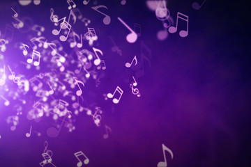 Floating musical notes on an abstract purple background with flares 3d illustration