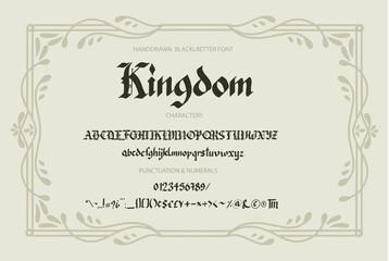 Blackletter gothic script hand-drawn font.