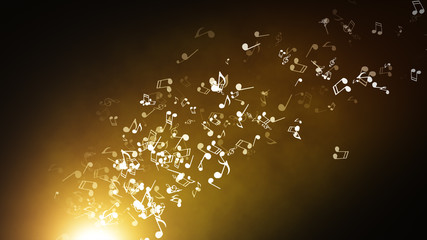 Floating musical notes on an abstract gold background with flares 3d illustration