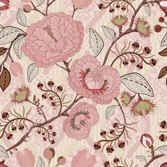 Fotobehang Botanisch Floral vintage seamless pattern. Retro plants style. Vector decorative flowers, modern motif.