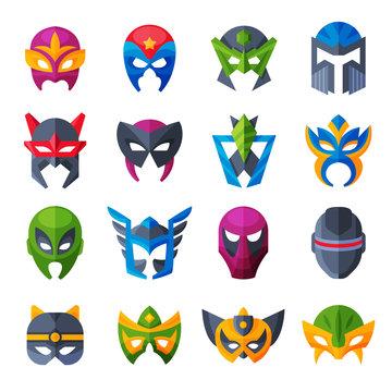 Hero mask vector superhero face masque and masking cartoon character illustration set of powerful masked symbol isolated on white background
