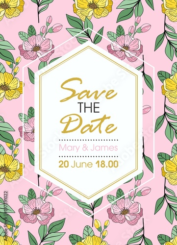 Greeting Card Vector Wedding Invitation Design With Flowers Buds